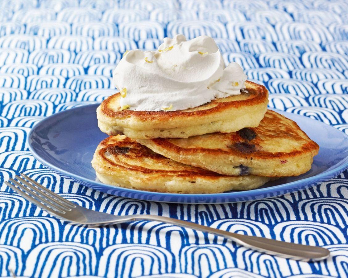 Blueberry ginger pancakes with lemon cream recipe