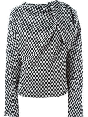 checkerboard draped sweater