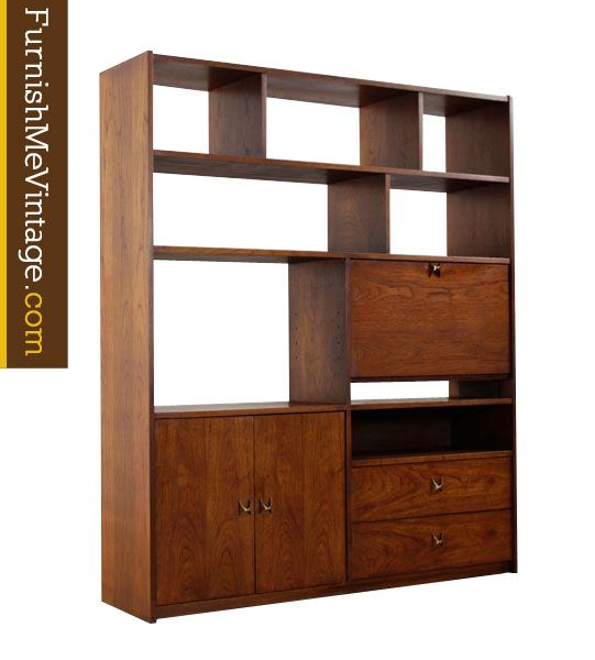 Mid century modern room divider bookcase with secretary. Walnut wood, finished on back side. Use this piece as a room divider in open floor plans. A varied configuration of shelves, cabinets and drawers. Right side …