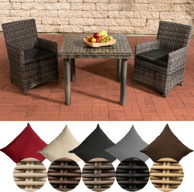 CLP Polyrattan Sitzgruppe DORADO, Tisch mit Klarglas Tischplatte 100