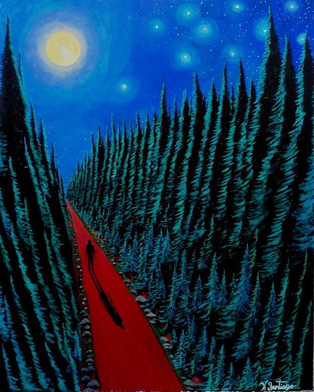A Journey at Night...Don't be afraid of the dark woods. Follow the Moon...it will light your way. 24x30