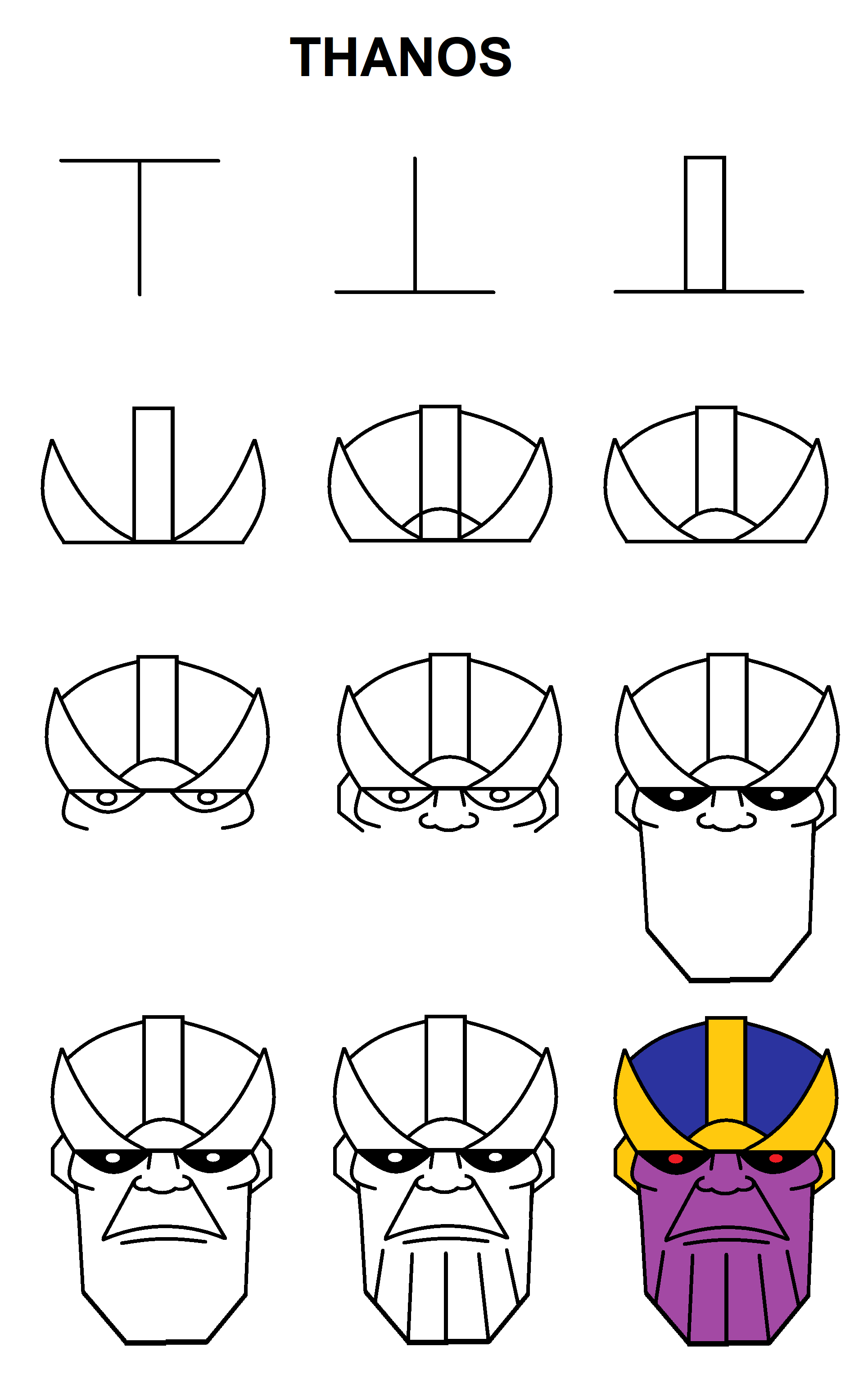 Step By Step To Draw Thanos With The Letter T