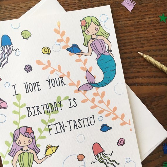 Mermaid Card Mermaid Birthday Card Mermaid Pun Card Pun Lover Card Punny Card Card For Friend Blank Card Single Card Seashell Card In 2021 Mermaid Birthday Birthday Cards Pun Card