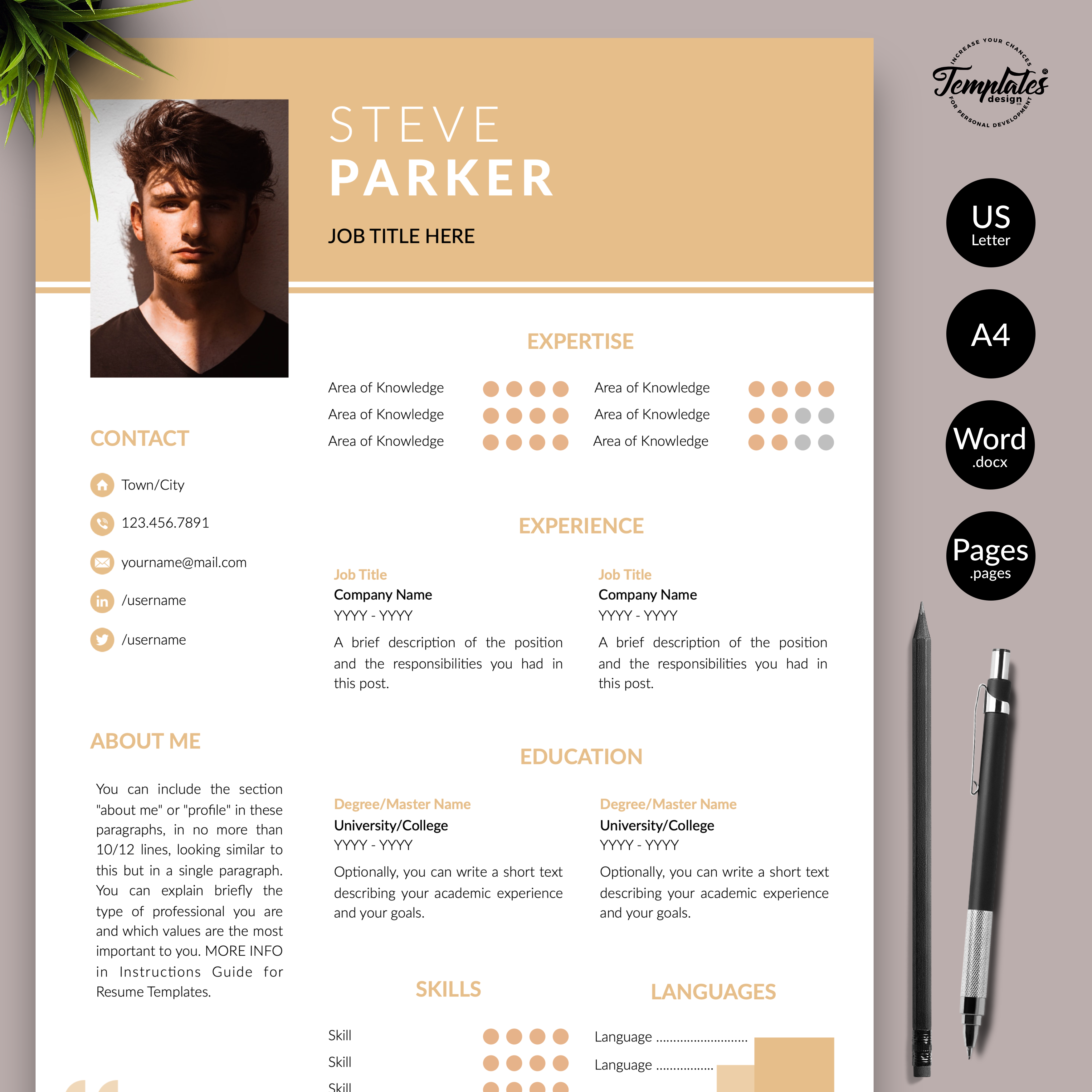 Resume Template For Microsoft Word   Docx   U0026 Apple Pages