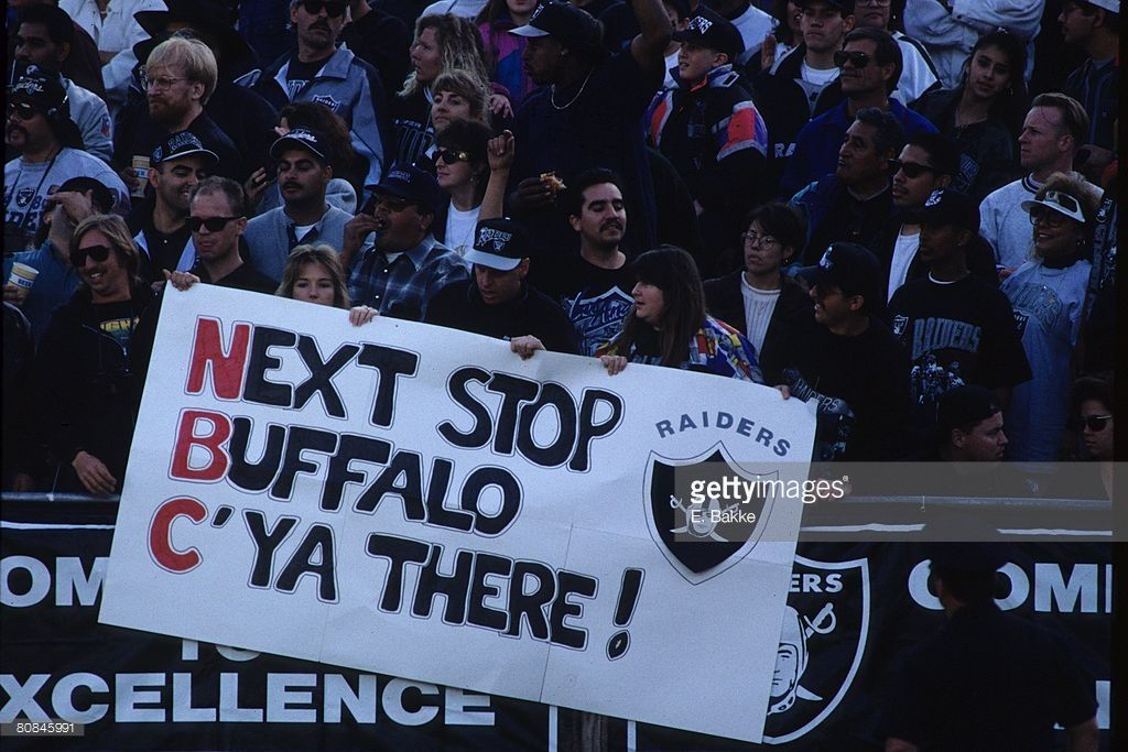 Fans Of The Los Angeles Raiders Display A Sign Against The Denver Raiders Los Angeles Raiders Fans