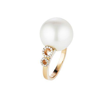 Jan Logan 18ct rose gold baroque South Sea pearl & diamond Orbit ring