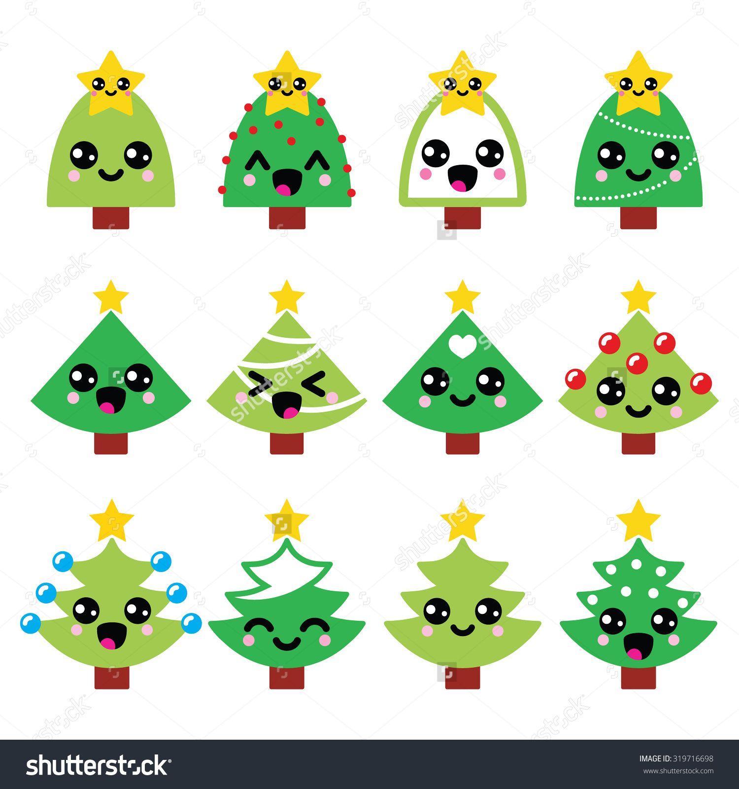 stock-vector-cute-kawaii-christmas-green-tree-with-star-vector ...