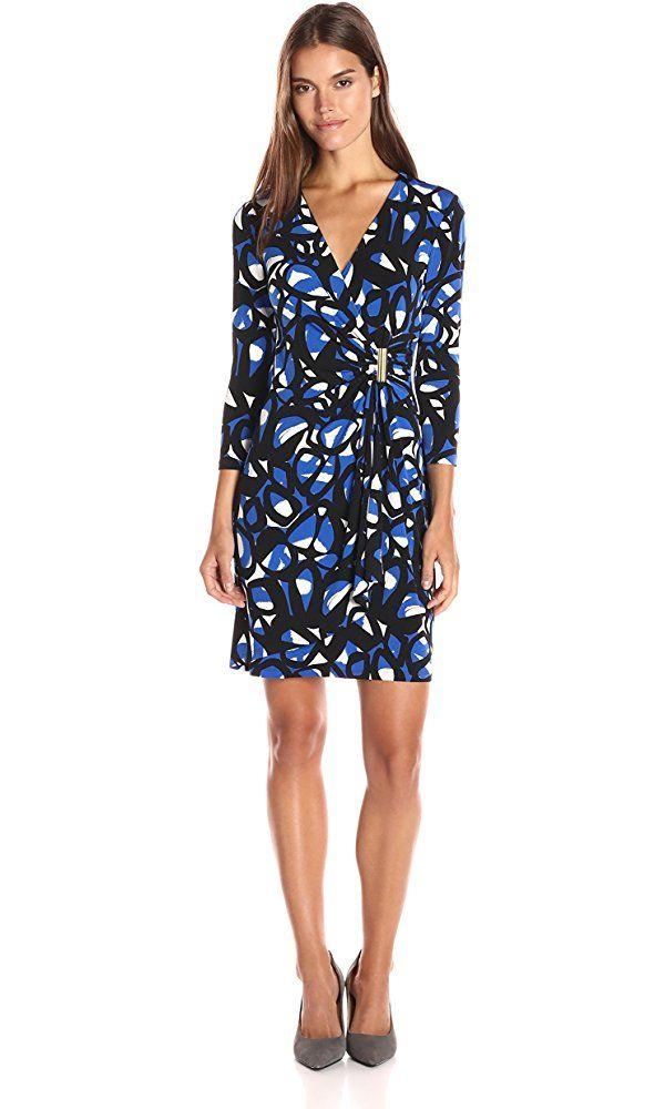 Calvin Klein Women's 3/4 Sleeve Mock Wrap Dress, Celestial Multi, 14 Best Price