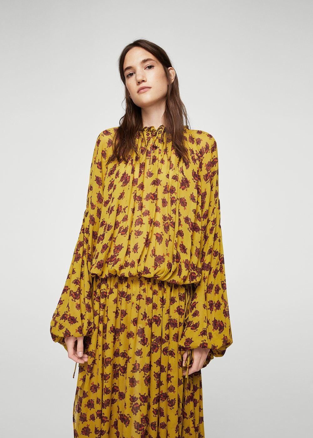 langes kleid mit relief-blumen - damen | mango deutschland