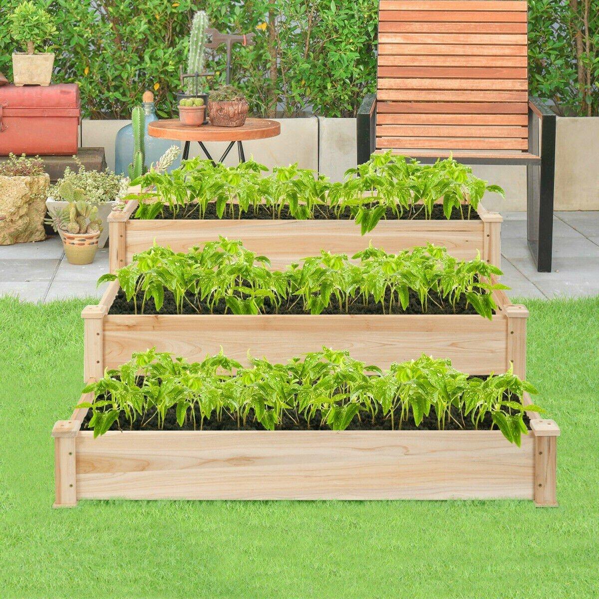 3 Tier Elevated Wooden Vegetable Garden Bed Vegetable