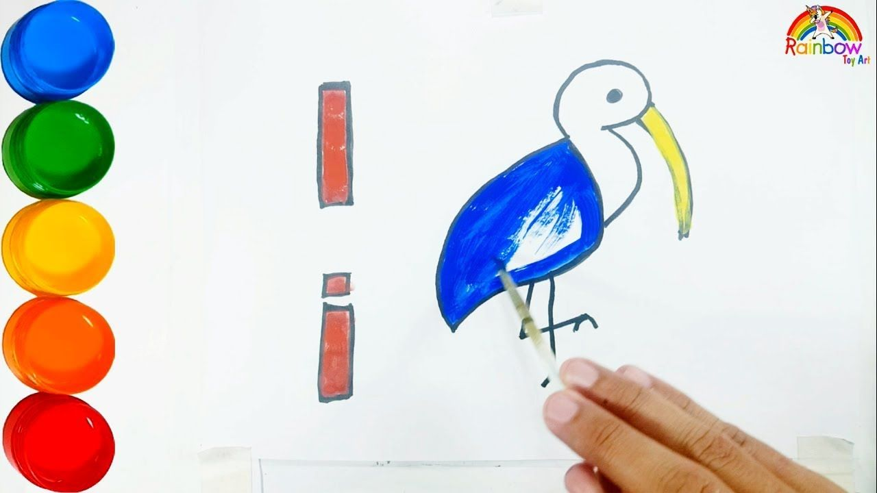New Video By Rainbow Toy Art On Youtube Learn Alphabet Letter I Drawing And Coloring Ibis For Kids Toddlers Rainbow Toy Art Hi Guys I M Rainbow Today Let S