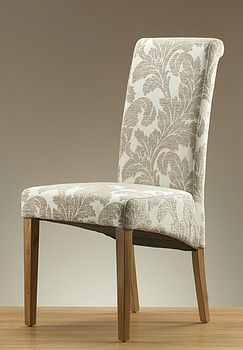 Scroll Back Fabric Dining Chair With Oak Legs Champagne Fabric