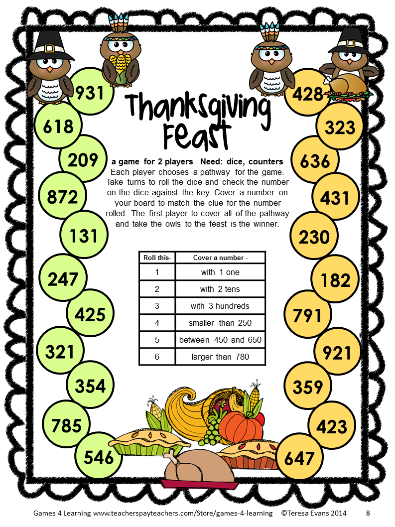 NO PREP Thanksgiving Math Games for Second Grade with