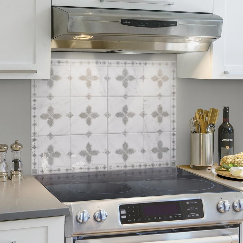 Smart Tiles Kit Kitchen Vittoria 22 56 In W X 30 06 In H Gray Peel And Stick Self Adhesive Wall Tile Cooktop Backsplash 4 Pack Sm7003g 04 Qg The Home Depot Easy Kitchen Backsplash Stove Backsplash