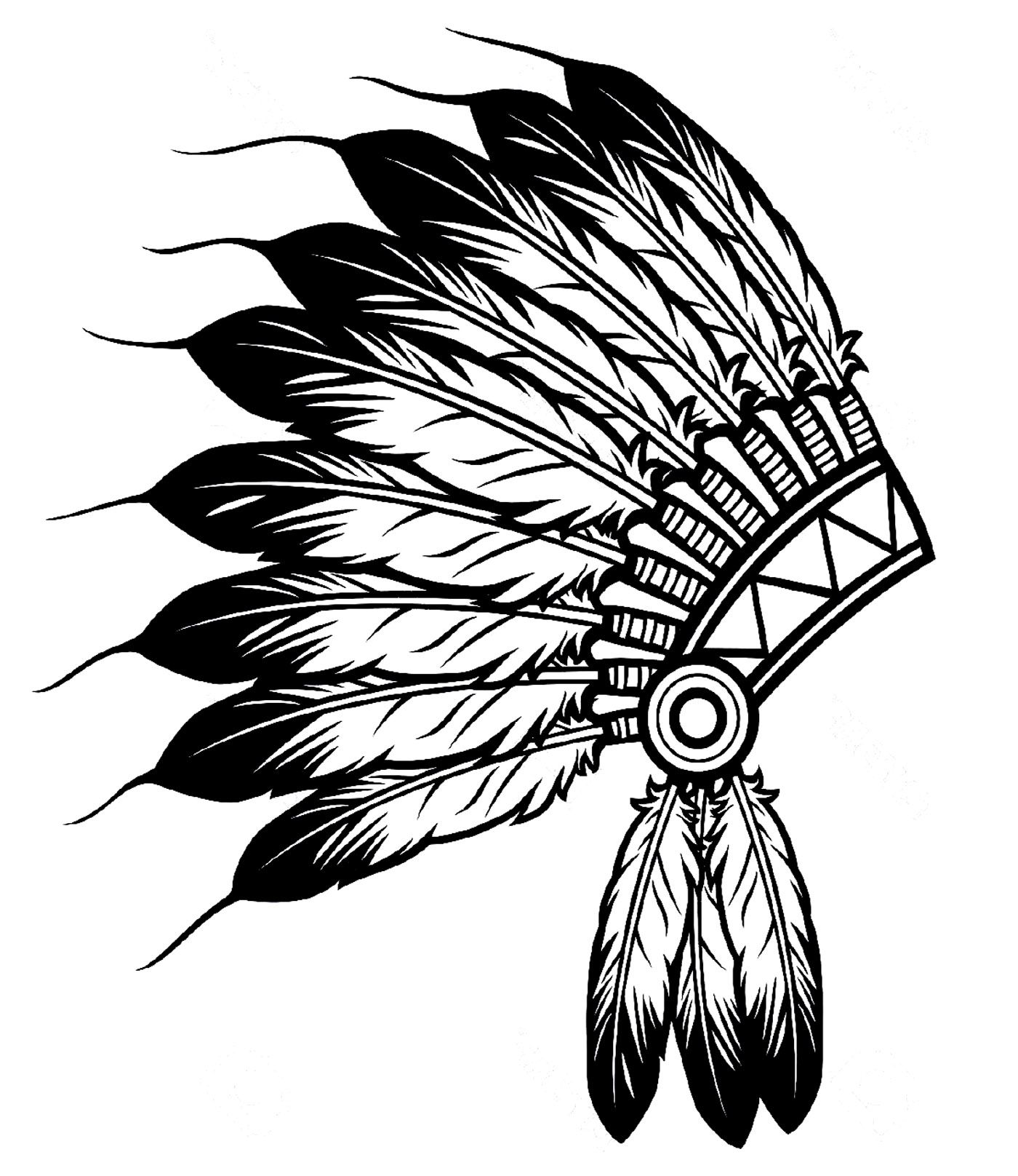 Indian Feather Hat Native American Coloring Pages For Adults