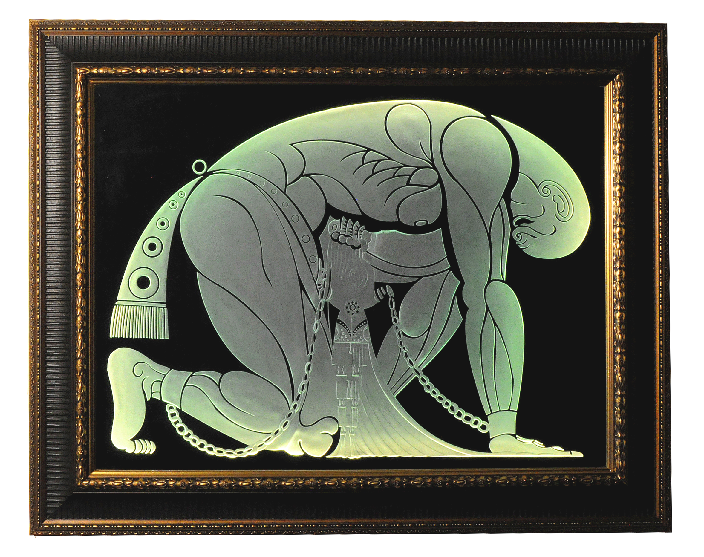 Illuminated, carved art glass mirror with Art Deco motif inspired by Erte's Samson and Delilah.