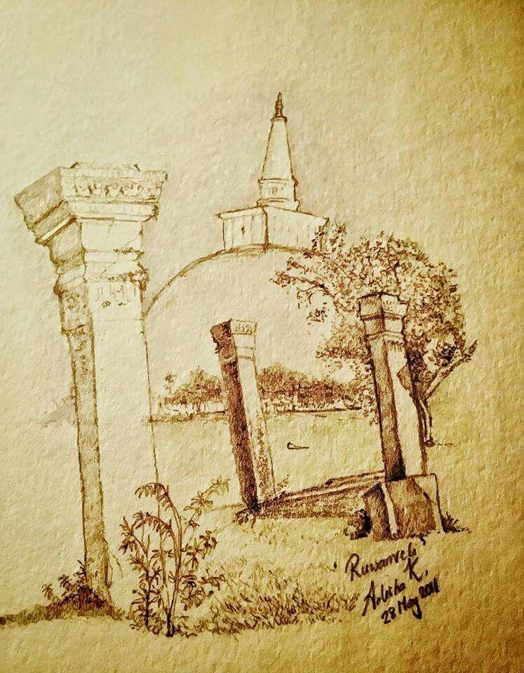 My pencil drawing of Ruwanweli Maha Seya (රුවන්වැලි මහා