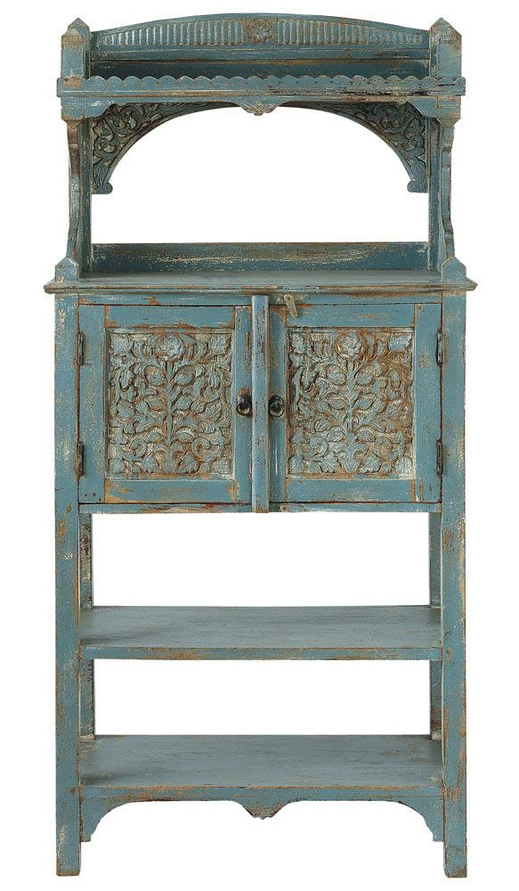 Avignon mango wood tall kitchen stand in grey blue with distressed finish maisons du monde