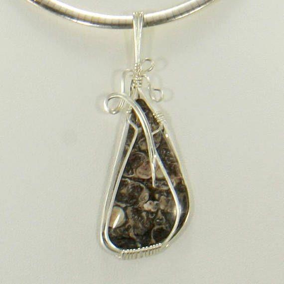 Turatella Fossil Wire Wrap Pendant Silver Wire Wrap Jewelry | Wire ...