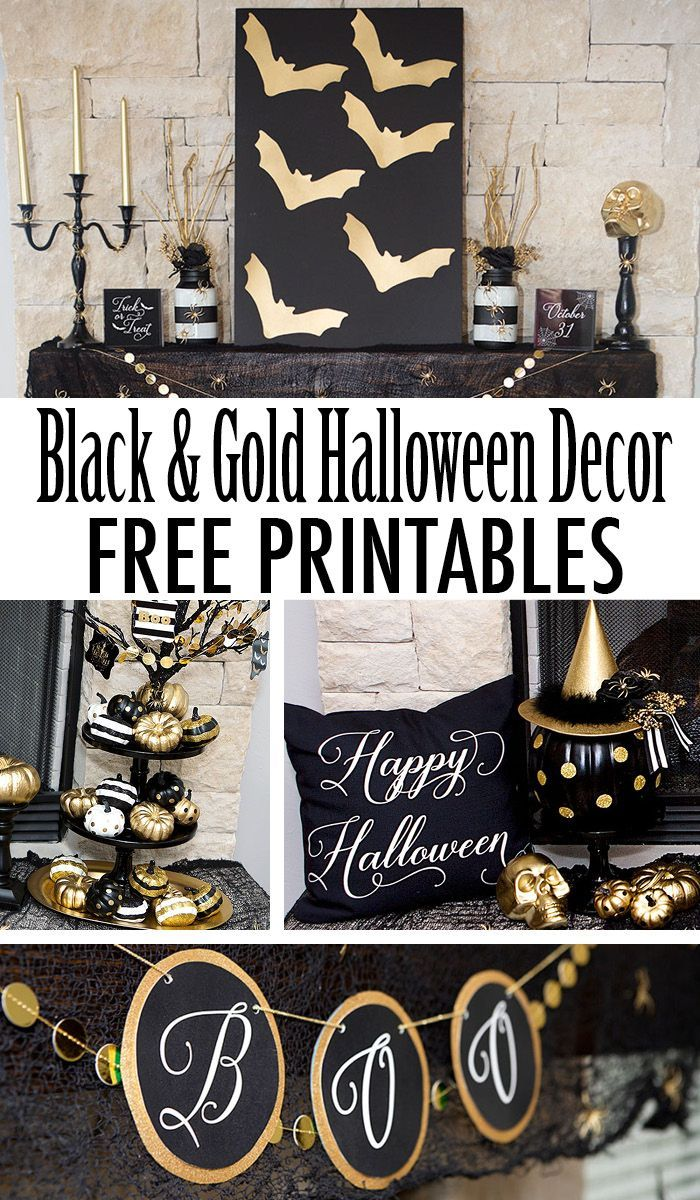 Free Printables Awesome Black And Gold Halloween Mantle Free