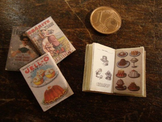 miniature assorted vintage cookbooks 4 pcs by bagusitaly on Etsy