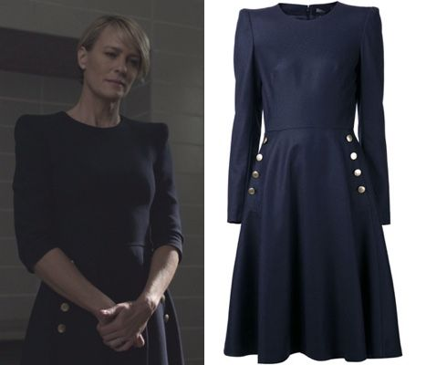 Claire House Of Cards Hoc Season 3 Navy Blue Dress Gold Buttons