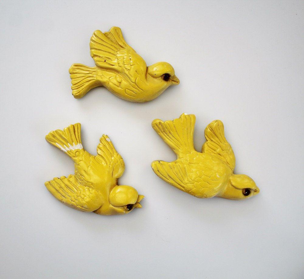 Vintage Chalkware Yellow Birds 3D Wall Art - Mid Century Flying ...