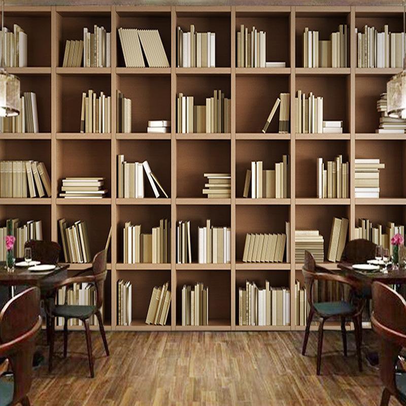 Custom Size Bookcase Library Wallpaper Mural Bookshelves In Living Room Living Room Bookcase Wallpaper Bookcase