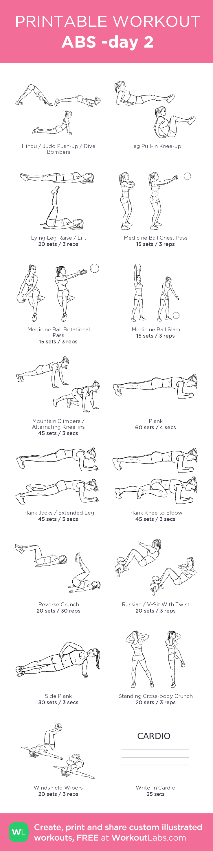 ABS -day 2: my visual workout created at WorkoutLabs.com • Click through to customize and download as a FREE PDF! #customworkout