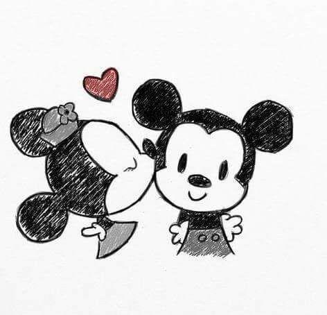 Image De Love Mickey And Minnie Dessin Kawaii Dessins Amour