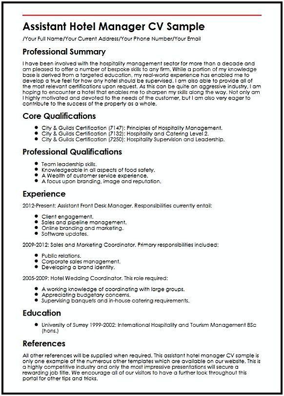 Assistant Hotel Manager Resume CV Hotel Manager Resume