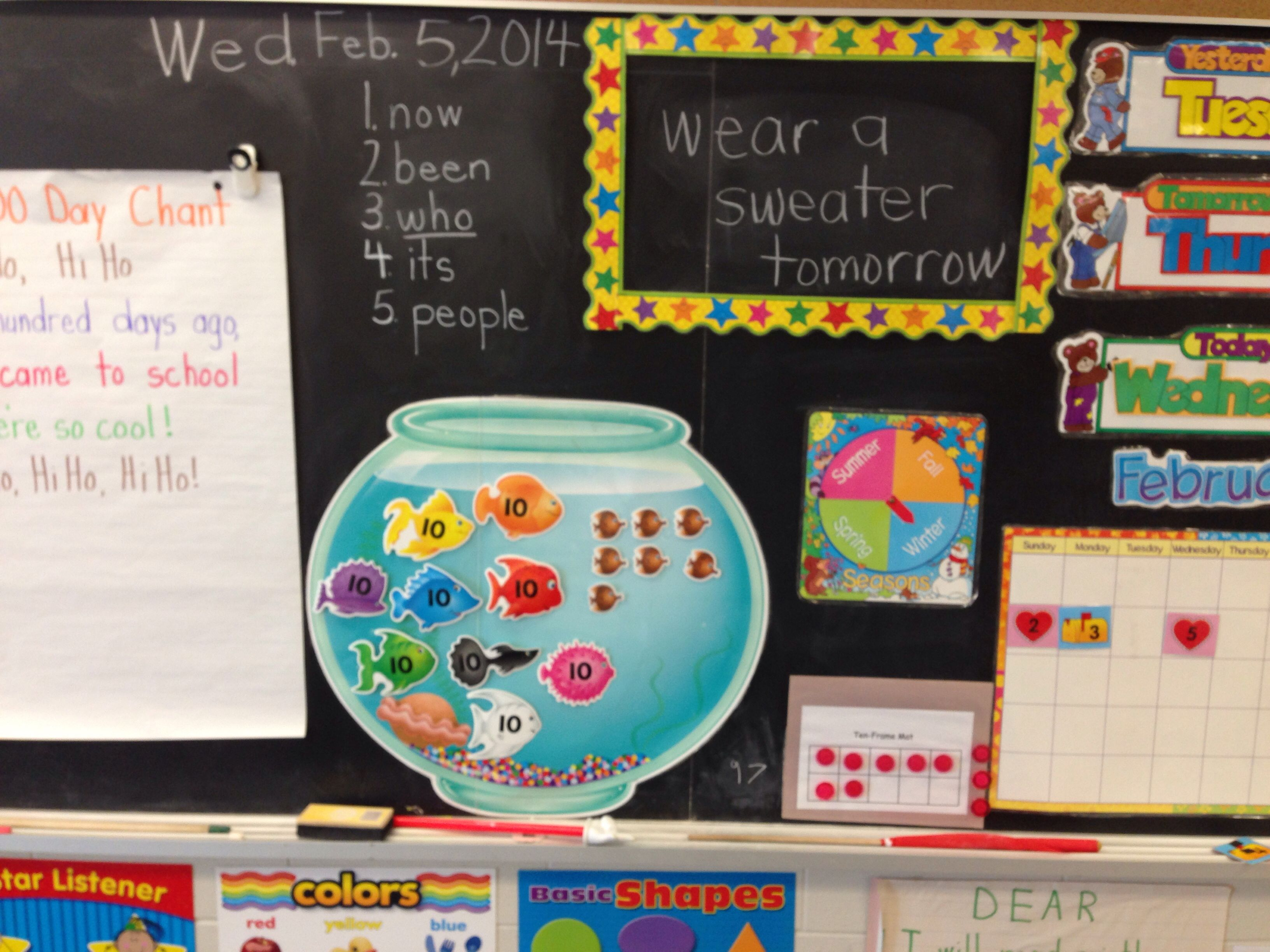 Fish Bowl And Ten Frame To Count Days Of School Word Wall