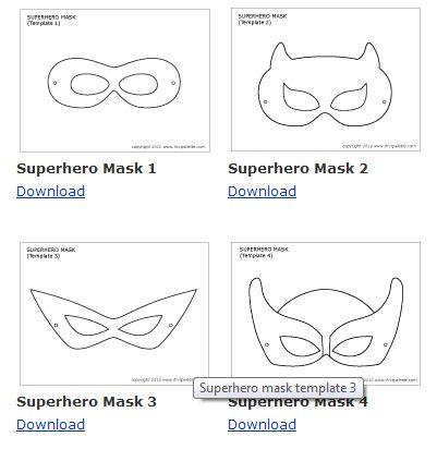 downloadable mask template superhero vintage bright dessert table