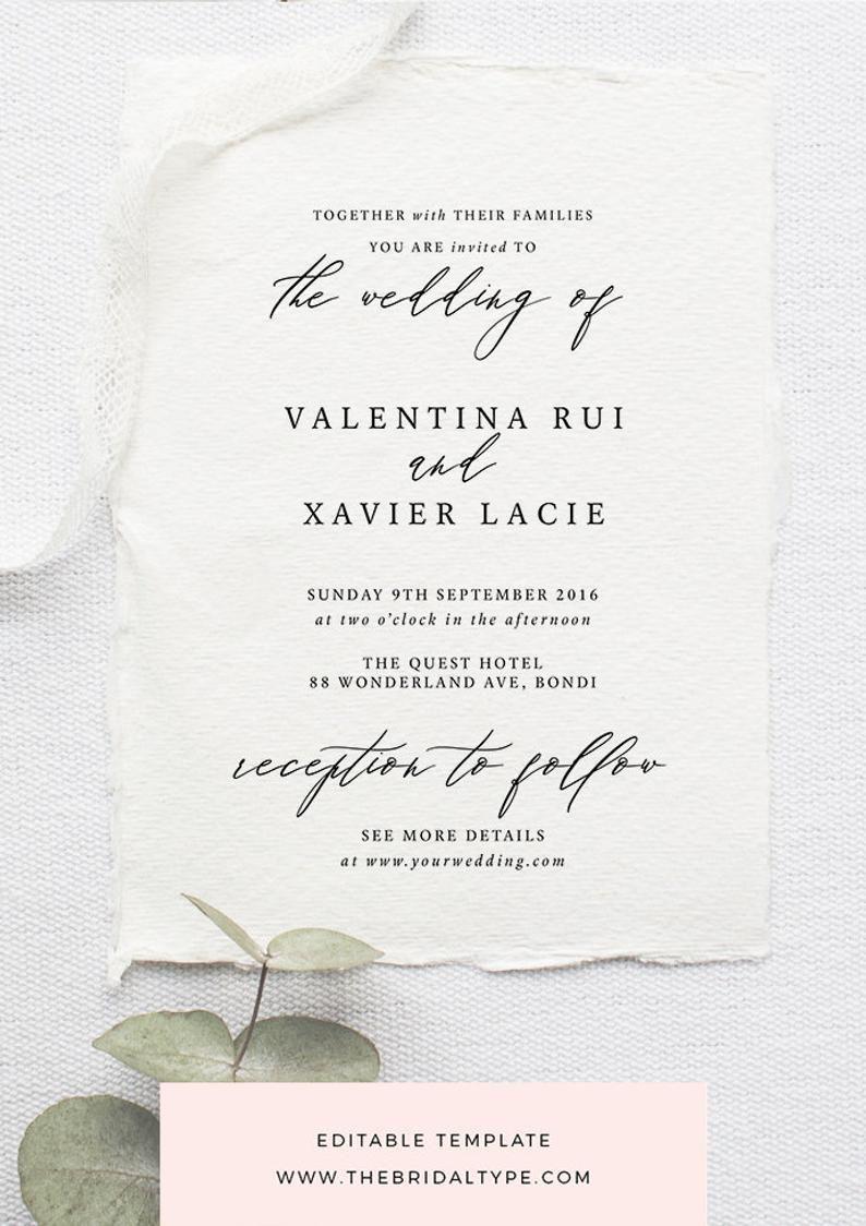 Classic Wedding Invitation Template Calligraphy Invitation Minimalist Wedding Invitation Printable Wedding Invite Typography Invitation Classic Wedding Invitations Minimalist Wedding Invitations Modern Wedding Invitation Wording
