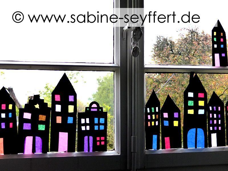 DIY Basteln mit Kindern für den Herbst: Abends, wenn es dunkel wird…  Leuchtende Stadt