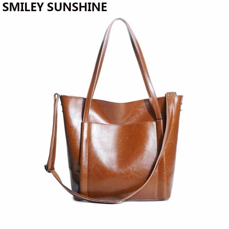SMILEY SUNSHINE big female genuine leather shoulder bag for women handbag  ladies fashion purses and handbags hand bag sac a main Review 7772a19541d97