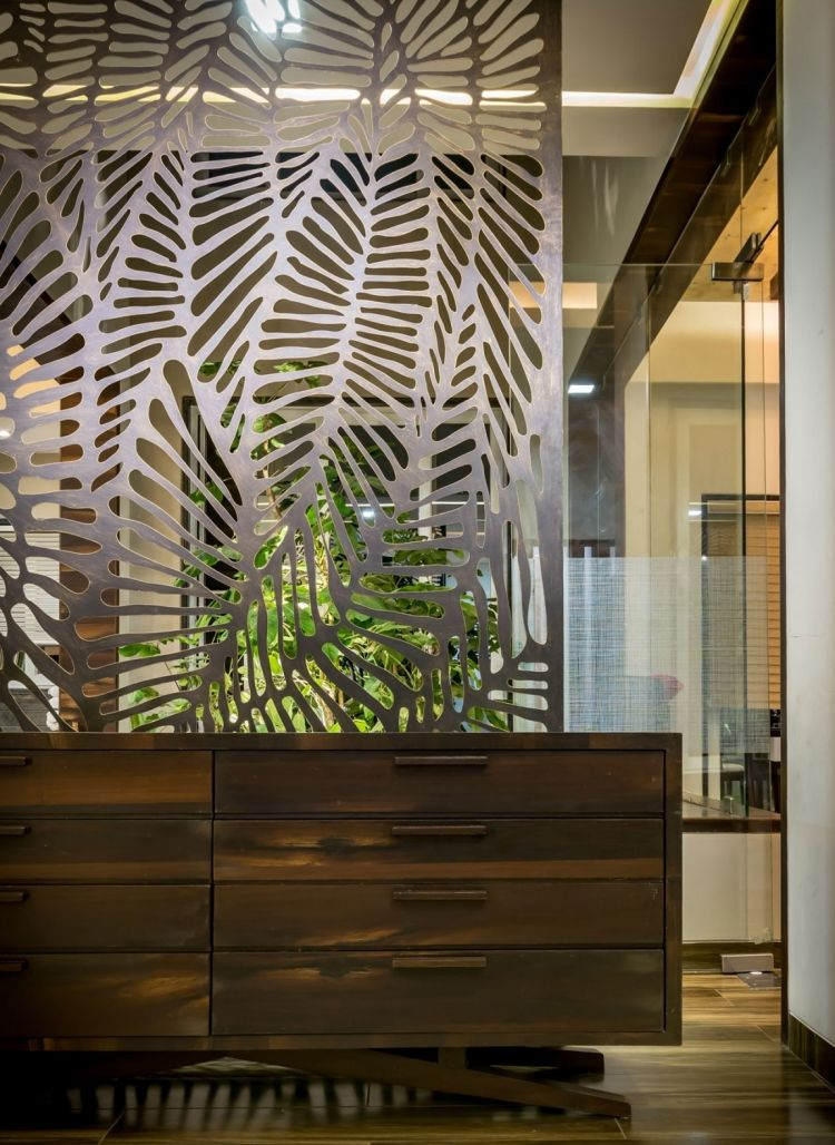 Kreative Wandgestaltung   Modern Design Glaswand Stahl Paneel Floral Motiv Laser Cut