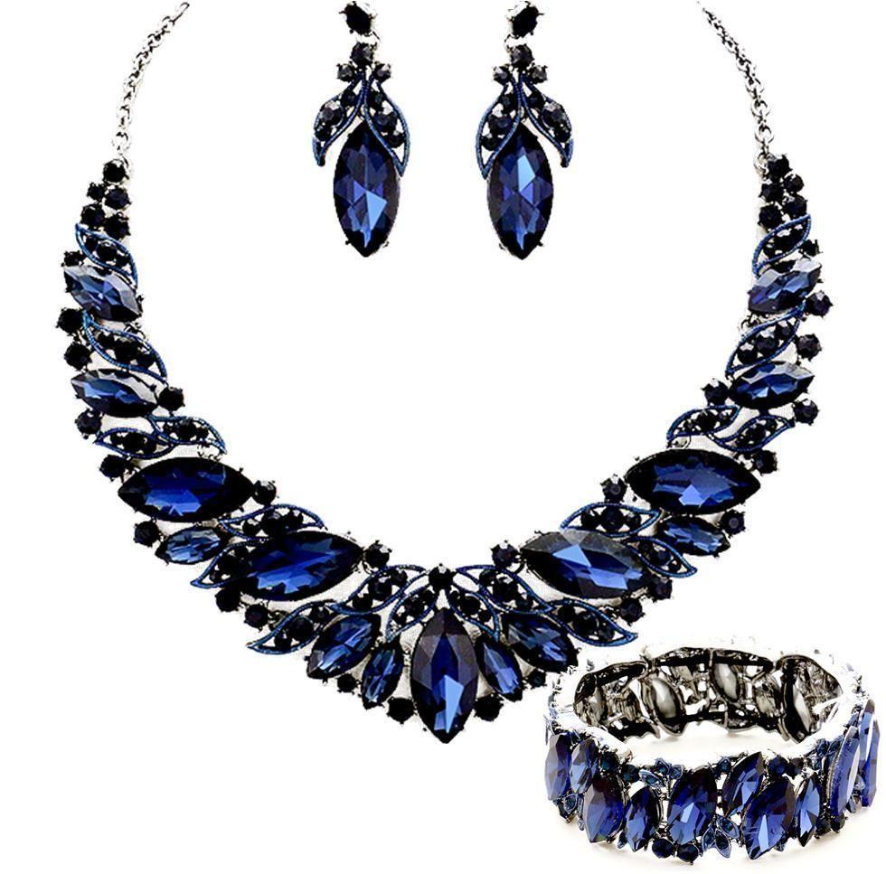Montana Dark Blue Crystal Necklace Bracelet Elegant Formal Prom