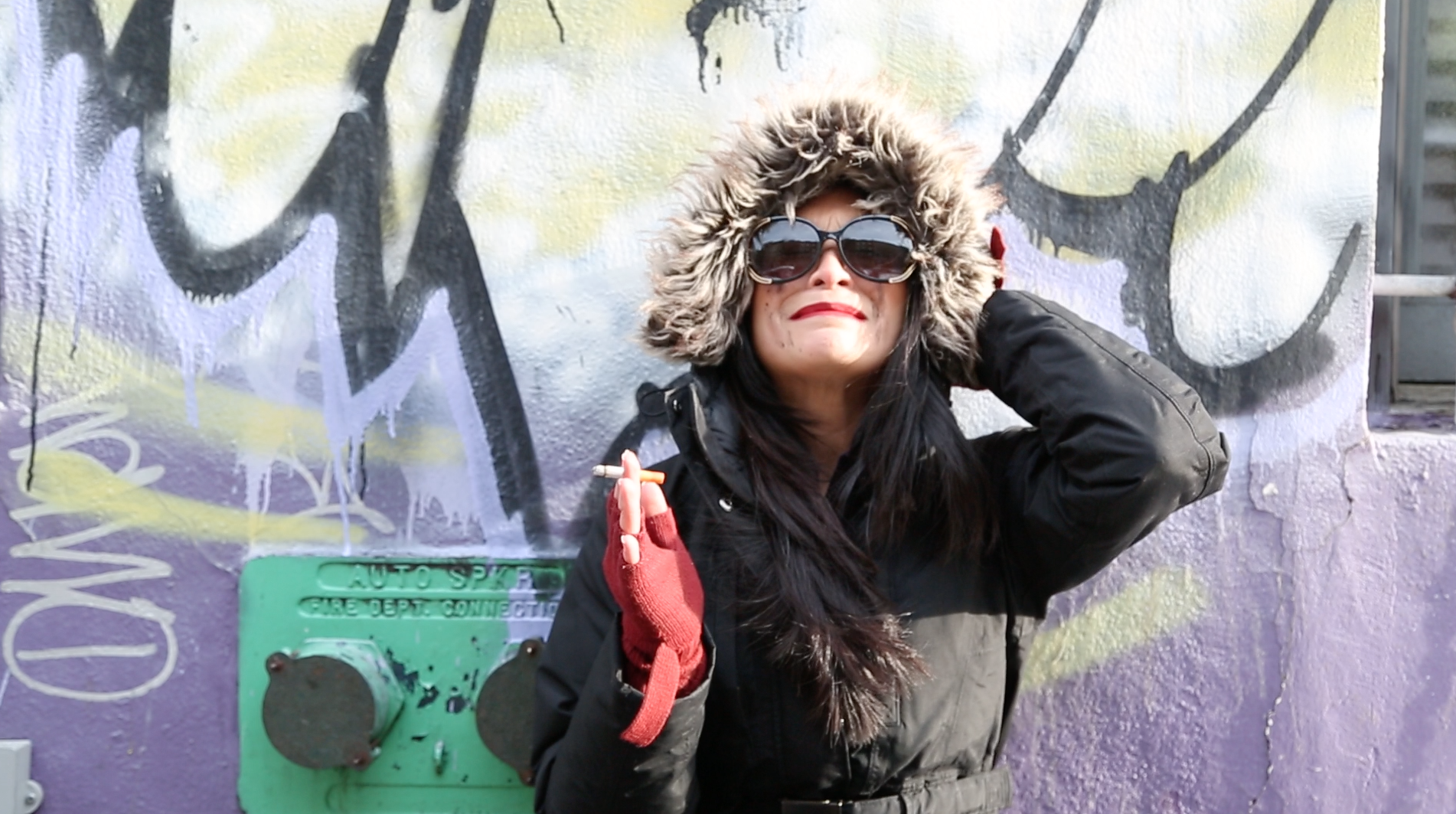 Hipster Girl has had enough with life. — with Vanessa Hernandez at Lower East Side Manhattan Ny.
