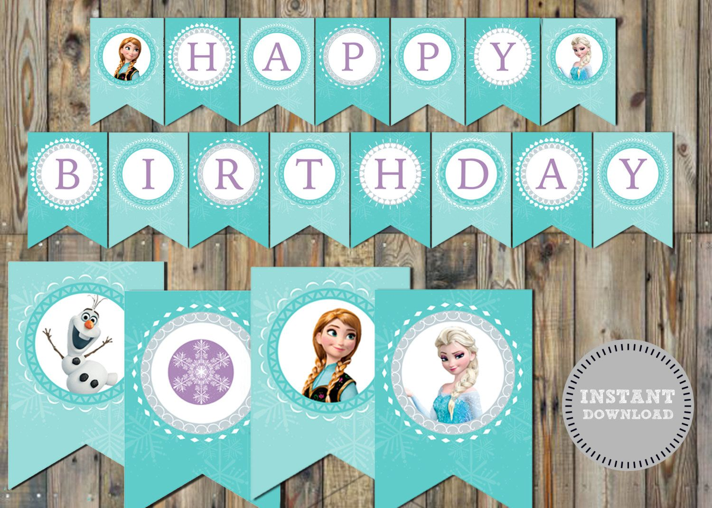 Disney Frozen Birthday Banner Instant Por Sweetandsaltysisters