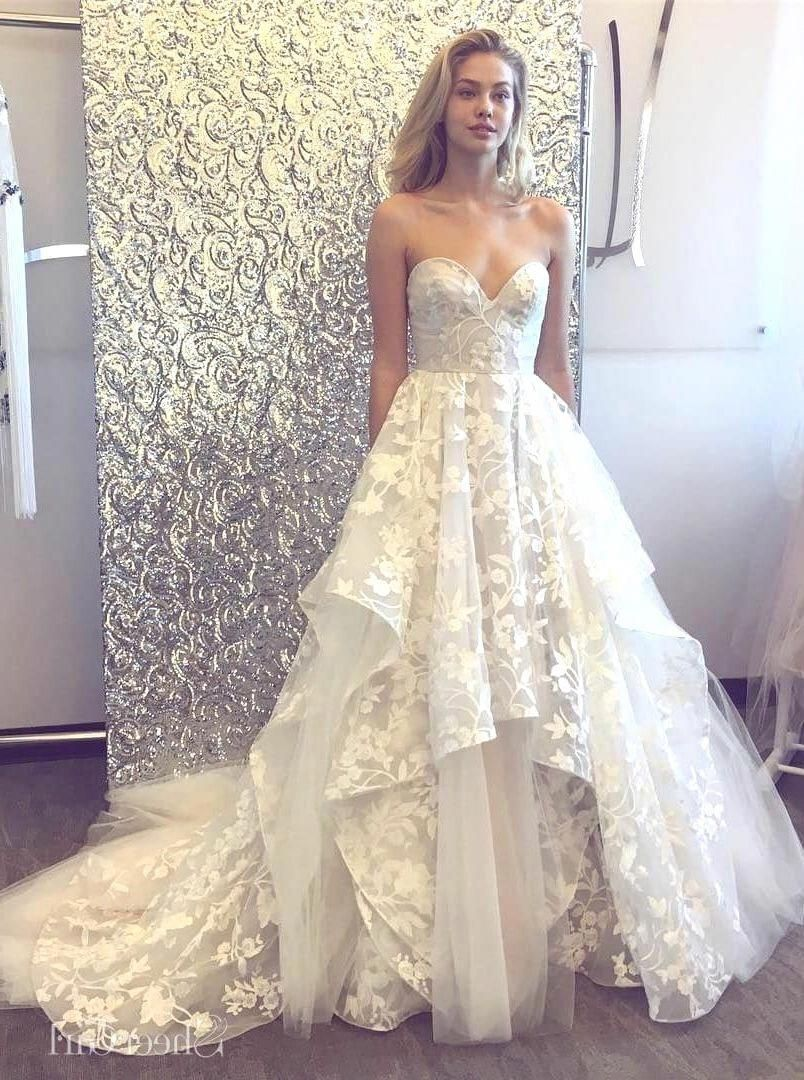 Aline 3D Lace Wedding Dresses Chapel Teach BRIDAL DRESS