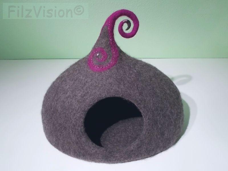katzenh hle aus reiner schafschurwolle von hand gefilzt filzh hle kringel 1 katzen. Black Bedroom Furniture Sets. Home Design Ideas