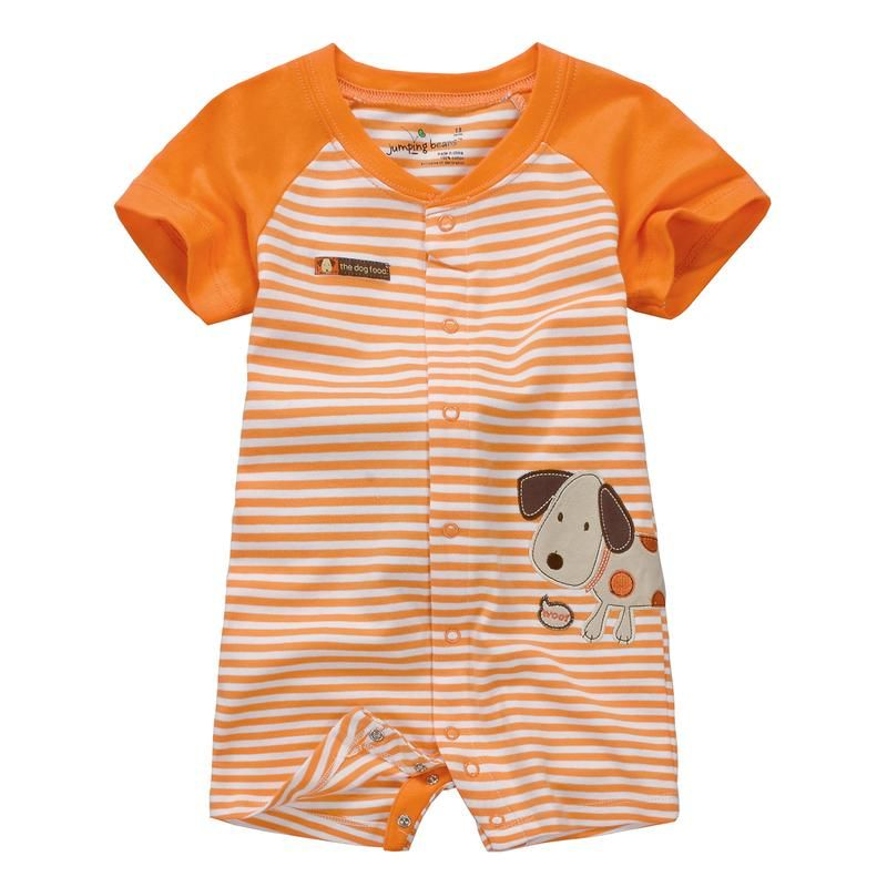 Jumping beans spring summer cotton kids baby boy infant short sleeve boxer rompers thoracotomy jumpsuits stripes bodysuit dog