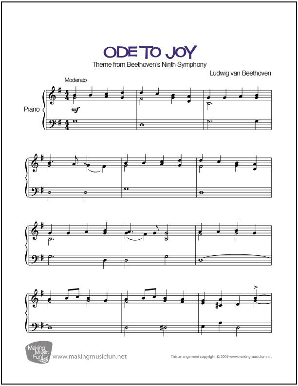 Ode To Joy Beethoven Sheet Music For Intermediate Piano With