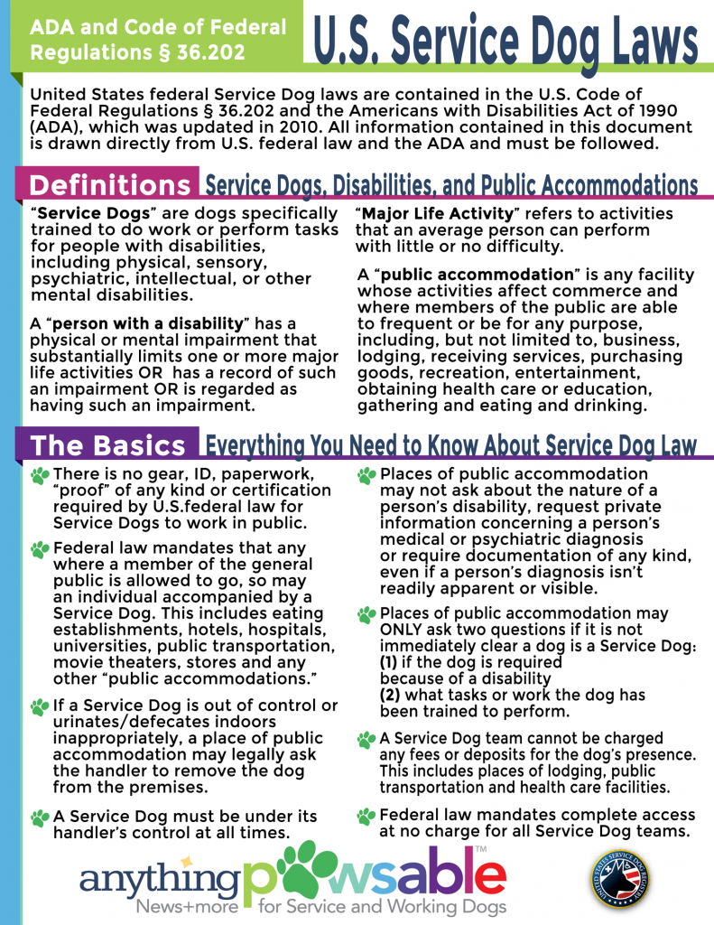 Service Dog Law Handout Anything Pawsable Service