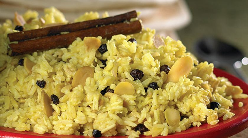 Basmati Rice with Coconut, Almonds and Currants