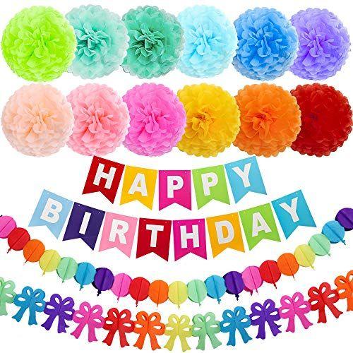 PARLAIM 1588 Set of 16 Party Hanging Ice Cream Paper Pom Poms Honeycomb,Tissue Paper Pom Poms for Wedding Birthday Decoration