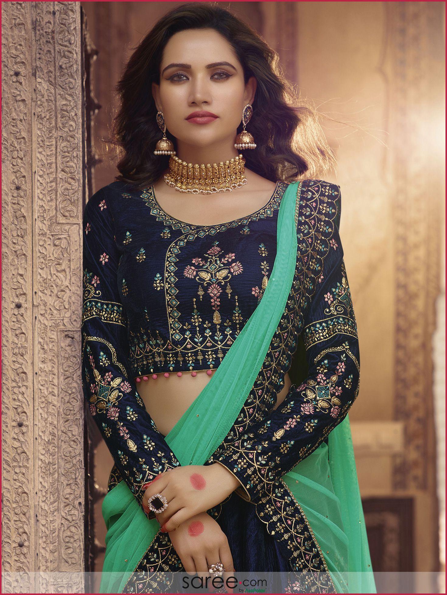 59c8e8b0ea Dark Blue Embroidered Angrakha Style Blouse Design | Reception ...