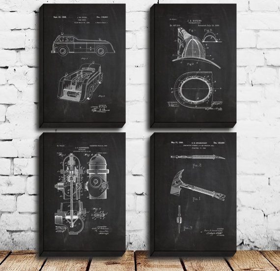 CANVAS Firefighter Patent Firefighter Poster by STANLEYprintHOUSE - copy plane blueprint wall art