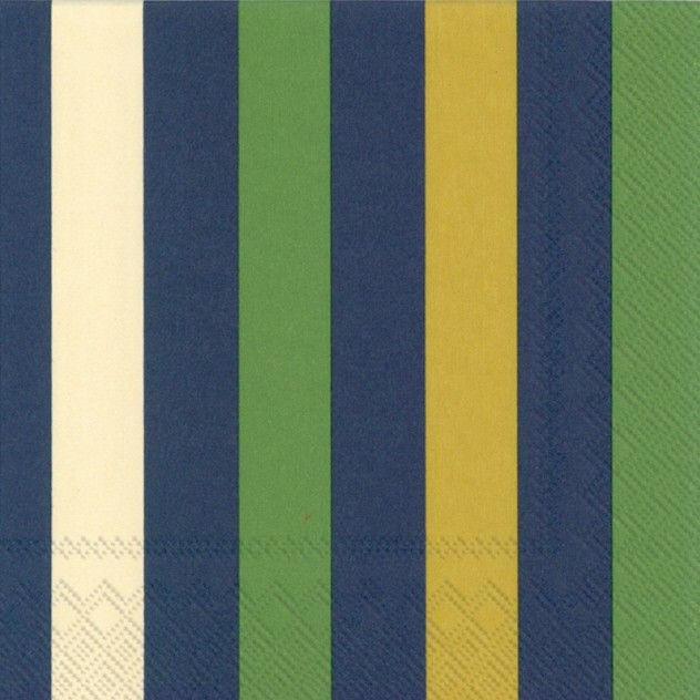 The Premium Stripe Green modern designer paper napkins feature a wide striped pattern of dark green navy blue dark yellow and ivory lines. & The Premium Stripe Green modern designer paper napkins feature a ...